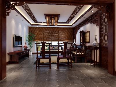 【上海实创装饰】170平三居室新中式风格装修设计稳重大气