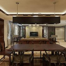 上海实创装饰打造190平新中式风格四居室装修效果图