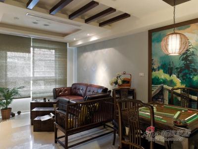 中式客厅 客厅藤艺灯