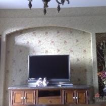 电视机背景墙拉,空调把一半的铁艺背景给挡住了,这个地方挺遗憾的!!!
