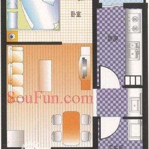 户型图~~~~我的有一点点区别,我的厨房、卫生间、阳台在左边,卧室客厅在右边,和图中正好相反的