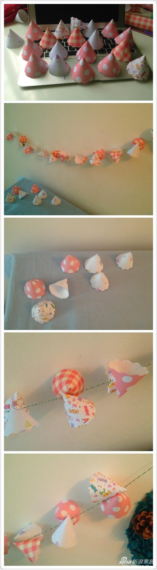 """一天,五岁的女儿指着她的生日帽说:""""妈妈给我做很多小小的生日帽,我想挂起来""""于是有了生日帽挂饰的想法。就这样俩俩对着粘在一起,简单易做的一串生日帽挂饰制作完成,很有""""北欧""""范儿呢。"""