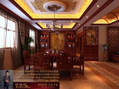 龙发装饰首席设计师许晓舵-名门华都200平米宫廷中式风格餐厅墙