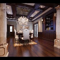 装修案例-祥云国际经典欧式风格装修-石家庄实创装饰-餐厅效果图