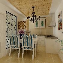 芍药居北里-90平米-地中海风格的装修案例-餐厅效果图