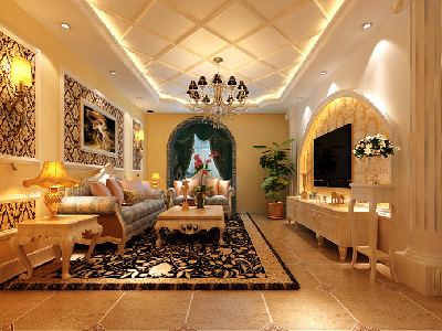 客厅:欧式的元素的体现。客厅的电视背景墙运用了罗马柱和石膏板的结合做的造型,并留有反光灯槽,暖色的欧式壁纸加上灯光体现了空间的设计。 沙发背景,用石膏平角线做的相框。顶面是石膏平角线的菱形拼贴,更加体现了欧式的元素。