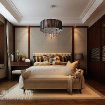正商新蓝钻165平复式装修效果图新中式案例——卧室