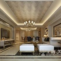 东明花园三室两厅装修欧式142平效果图——客厅