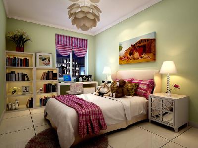 设计理念:女儿房的设计中,在家具的选择上采用简单的造型;墙面的绿色和家居的陈设形成对比,使整个空间色彩丰富,体现出温馨典雅,给孩子一个遐想的空间。 亮点:丰富的色彩对儿童的智力开发以及对色彩的认知起到一定的积极作用。