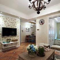 85平宽敞美式现代家 淡蓝色的房间色调