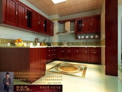 龙发装饰首席设计师许晓舵-名门华都200平米宫廷中式风格厨房