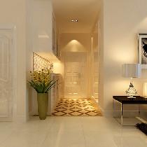 简约风格的家具配以暗咖花的窗帘、地毯,增加了客厅的生活气息。