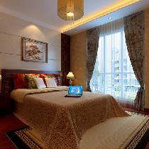 卧室 国画.吊灯将中式风格延伸进卧室,碎花窗帘.藕红色床头背景使得整个卧室更女性化.