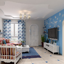 60平loft户型地中海装修打造自然温馨二居室