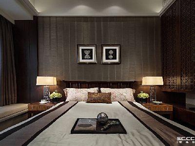 人生的1/3时间,几乎都在卧室度过,所以卧室最重要的感觉就是舒适,能够让疲惫的身  躯得到彻底放松,决不能背离这个主题。卧室延续了客厅的简中风格,没有中式的严肃  ,也没有现代的浮华,复古的家具和台灯、柔软的飘窗床垫,完美地填充了整个卧室。
