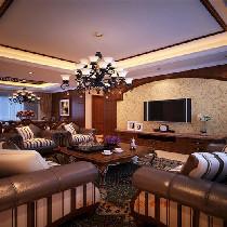 客厅电视墙 自然舒适,充分体现体现出乡村的朴实风味 设计理念:进入了户门,向前走去就可以欣赏到家居空间中对外的公共部分,客厅、餐厅都是为了招待来宾和宴请朋友用的。在材料选择上多倾向于较硬、光挺、华丽的材质。