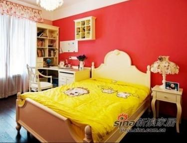 儿童房全景,墙面的颜色很爱,不是很粉但是温暖