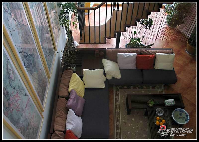 从楼上俯视看客厅(有点晕的说)