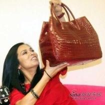 韦唯的红色鳄鱼包,价值数十万。