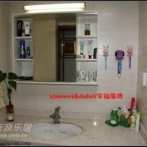 洗手台,米黄色系的瓷砖搭配台面阿玛妮大理石,统一又和谐