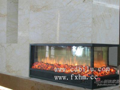 2012冠军瓷砖安心居国际生活馆展示厅三面火焰欧壁火伏羲品牌电壁炉设计定制案例