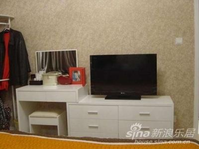 本来电视机是挂在墙上的,因为不忍心把墙纸破坏了,所以放在电视柜&梳妆台上了