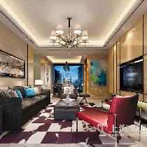 正商城117平夸张含蓄后现代装修三室两厅效果图——客餐厅布局