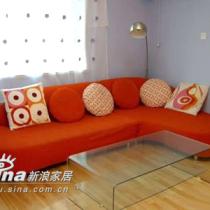沙发选了红色,很靓呢