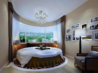 客卧是用于客人居住,休息的空间。应该以舒适,温馨。干净的原则。来营造与整体风格相结合的感觉。圆床与原始户型的完美结合,舒适又具备现代简约的风格