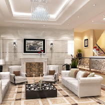 明亮的客厅,客厅一定要亮,所以我们没有用地板,用的是法恩莎的地砖,晚上不用开很多灯就亮堂堂的。客厅整体色调用黄色和蓝色这对对比色隔开,一眼看上去就个性十足嘛。