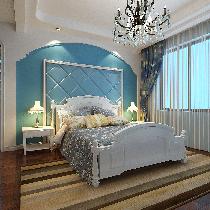 设计理念:业主喜欢蓝色,通过蓝白色对比,混入地中海元素,更时尚美观。 亮点:蓝色的软包与白色的拱形造型,突出蓝白相间,造型简洁大方,富有地中海元素。