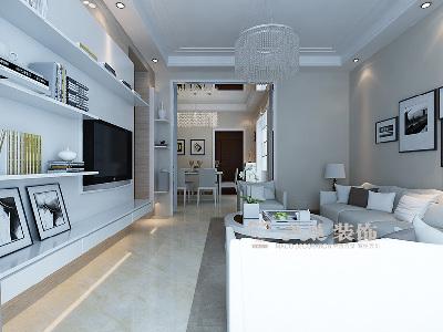 建海绿荫半岛三室两厅装修效果图-现代雅致充溢样板间——客厅全景