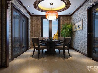 餐厅设计: 餐厅作为第二个待客区重点自然不会设计的过于轻浮,灯光的设计以暖色为主也是让本案的中式空间更加活泼,满足主人喜好烹饪,也是主人大显身手的重要之地。