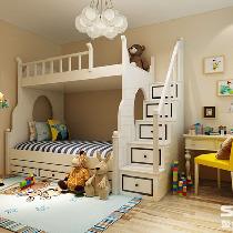 儿童房装修效果图 儿童房为阴面,为了保证儿童的健康,以暖色为主色调,软装配饰搭配多彩的颜色,提高颜色丰富度。子母床,既方便照顾儿童,来客人也可以暂时留宿。