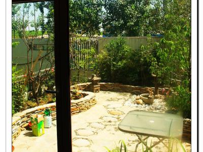 在客厅里看院子.院子也还没拍,看看以后有没有时间了,收拾漂亮了再拍