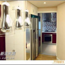 厨房可谓自成一方天地,酒红色的橱柜给这个小小的厨房一丝大气。借鉴了篱笆上一个mm的罗马点点砖,因为真的很喜欢