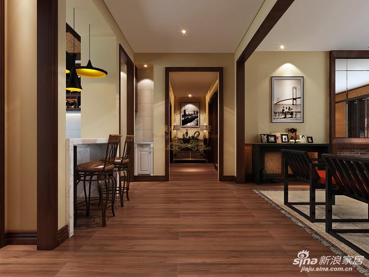 大量胡桃木的实木线条,大理石,经典时尚的家具,包括空间的合理运用把设计师的设计理念体现的淋漓尽致。