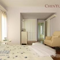 淡紫色墙面的主卧,配深色地板,家具极其简单,两扇窗户采光效果非常好