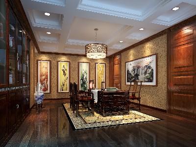 室内多采用对称式的布局方式,中国传统室内装饰艺术的特点是总体布局对称均衡,端正稳健,古色古香与现代风格的简单素雅自然衔接。