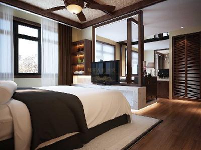 由于木制品更适合休息区域,所有房间都用了三层实木地板。
