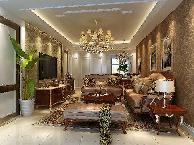 客厅奢侈与贵气设计理念:客厅作为待客区域,一般要求简洁明快,同时装修较其它空间要更明快光鲜。 亮点:仿古地砖、壁纸的偏爱和对各种仿旧工艺的追求上,与家具相协调。