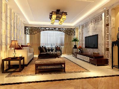 客厅大气、简约、沉稳,采用了汉白玉大理石高档材质。没有过多累赘复杂的造型,以简洁的几何形体镂空雕花诠释了主人的内蕴品性。沙发造型实木家具,稳重又不失简约。