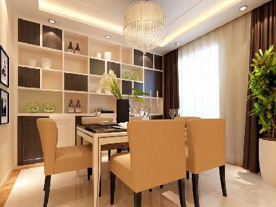 """餐厅 10平米简单温馨客厅 """"设计理念:餐厅的空间要划分简单合理,给了主人们更充裕的储藏空间,搭配绿植,家庭氛围更加愉悦。亮点:餐厅置放的酒柜时尚大气,兼具收藏和装饰功能。"""