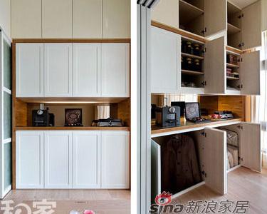 柜体上,预留下架高高度,让下层柜体瞬间增深,大型行李厢、长大衣都可轻松收纳于内,还可成为好客屋主的客房
