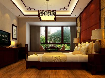 设计理念:结合业主的要求,不想把卧室做的太复杂。 亮点:床头背景墙是卧室设计中的重头戏。设计上更多运用了点、线、面等要素形式美的基本原则,使造型和谐统一而富于变化。