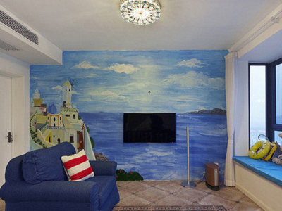 手绘电视背景墙