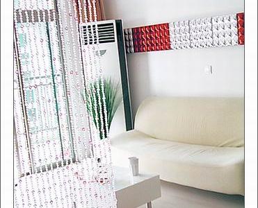 再来一张珠帘,沙发和护墙板的照片
