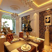 餐厅选用菱形的镜子和镜框线拼搭作为背景墙造型,使整个用餐的空间看起来宽敞明亮,在镜子的照射下吊灯的效果更加突出夺目绚丽!