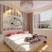 卧室大量黏贴条纹壁纸等材料作为辅材,是现代家局风格的主要装修材料,能给人带来现代时尚大气的感觉。