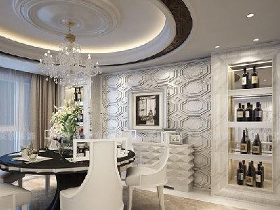 餐厅部分以极具现代感的圆形凹凸顶与餐桌相互呼应,整个色调统一明快,餐厅背景以红酒装饰柜为主,富有立体感的凹凸造型,优雅的图案与纹路,现代的材质与工艺,将古典融入到现代中,使优雅奢华的气质毫不张扬的呈现